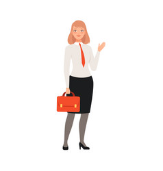 businesswoman saying hello character vector image