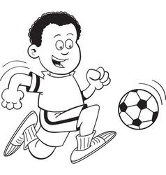 Cartoon african boy playing soccer vector