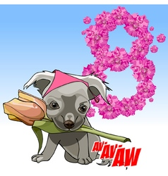 cartoon cute puppy with a flower in his mouth vector image