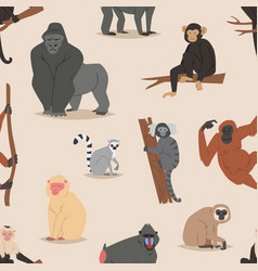 Cartoon monkey character animal wild vector