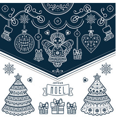 Christmas card joyeux noel decor vector