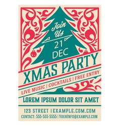 christmas flyer with classic ornaments vector image
