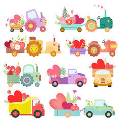 Collection cute tractors and trucks full of vector