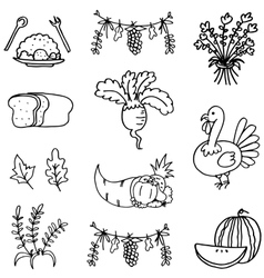 Collection stock thanksgiving set doodles vector image