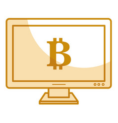 Computer with bitcoin symbol vector