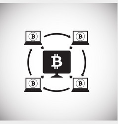Crypto currency mining bitcoin on white background vector