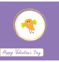cute orange bird Happy Valentines Day vector image