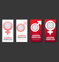 Design of red and white web banners with gender vector