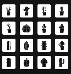 Different cactuses icons set squares vector