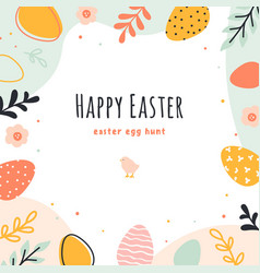 easter eggs hunt hand drawn banner with vector image