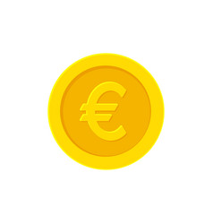 Euro golden coin flat icon isolated on white vector