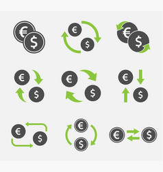 exchange dollar and euro icon set currency vector image