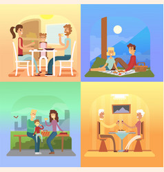 Family holiday cartoon concepts mom dad son vector