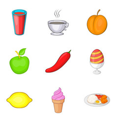 Fresh foodstuff icons set cartoon style vector
