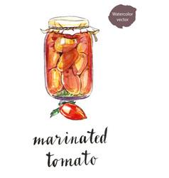 Glass jar marinated tomatoes vector