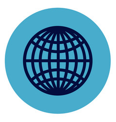 globe icon on round blue background vector image