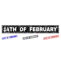 Grunge 14th of february textured rectangle vector