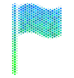halftone blue-green waving flag icon vector image