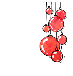 hanging red watercolor christmas ball winter vector image