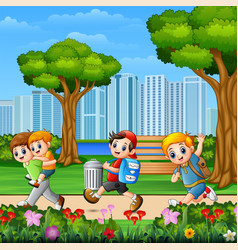 happy children running in park vector image