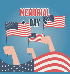 Happy memorial day raised hands with flags vector
