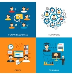 Human Resources Concept 4 Flat Icons vector image