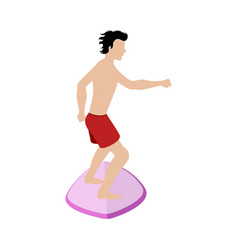isolated man surfing vector image
