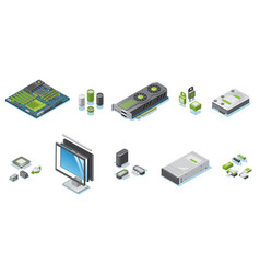 Isometric computer hardware parts set vector