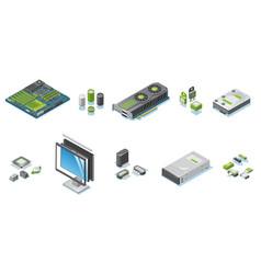 isometric computer hardware parts set vector image
