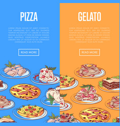 Italian restaurant flyers with national dishes vector