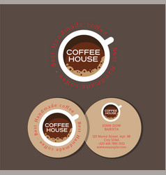 logo coffee house cup top vector image