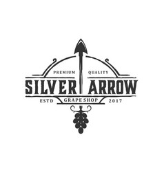 Logo for hunting with arrow elements outdoor vector