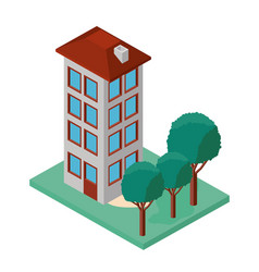 mini tree and building isometric vector image