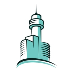 Modern skyscraper symbol with high tower vector image