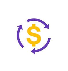 Money transfer convert icon on white vector
