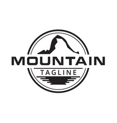 Mountain and water surface logo design vector