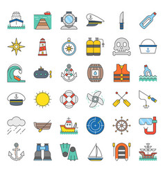 nautical and sailor filled outline icon set vector image