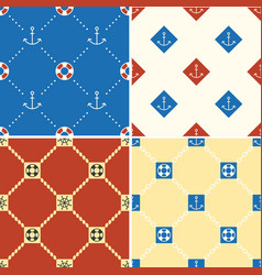 Navy and nautical seamless pattern theme set 1 vector