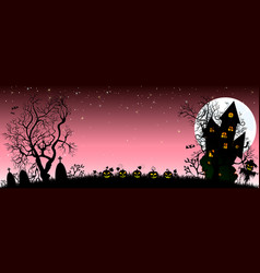 Night on halloween banner vector