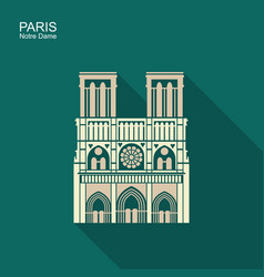 notre dame de paris cathedral france icon vector image