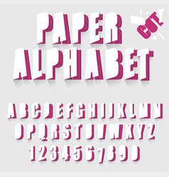 paper cut alphabet letters and numbers font vector image