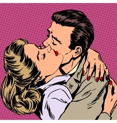 Passion man woman embrace love relationship style vector