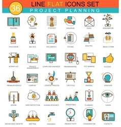 Project planning flat line icon set Modern vector image