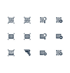 qr code and barcode scanning related icon set in vector image