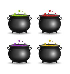 realistic detailed 3d witch cauldron set vector image