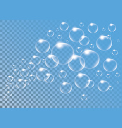 realistic isolated soap bubbles for vector image