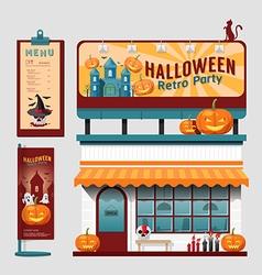 Restaurant halloween cafe set shop front design vector