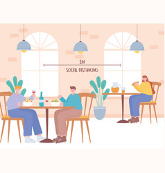 Restaurant social distancing guidance people vector