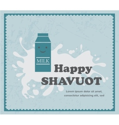 Retro card with milk carton on white splash vector