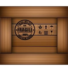 Safety fragile sticker icon on texture wooden box vector image